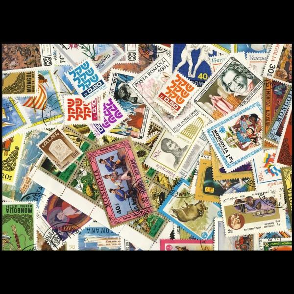 100 sellos matasellados diferentes de todo el mundo.             (Ref.017)