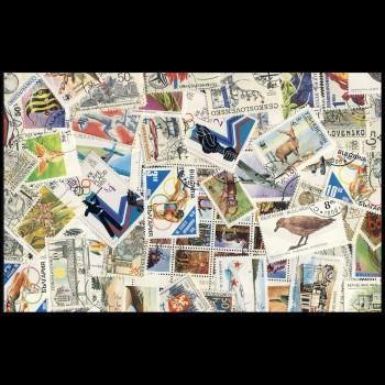 100 sellos matasellados diferentes de todo el mundo.             (Ref.025)