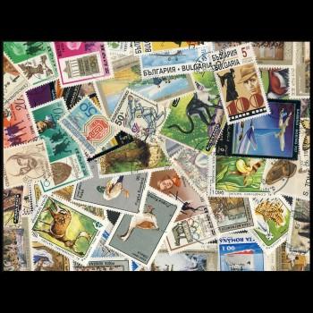 100 sellos matasellados diferentes de todo el mundo.             (Ref.029)