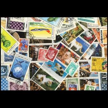 100 sellos matasellados diferentes de todo el mundo.             (Ref.044)
