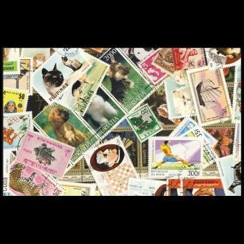 100 sellos matasellados diferentes de todo el mundo.             (Ref.046)