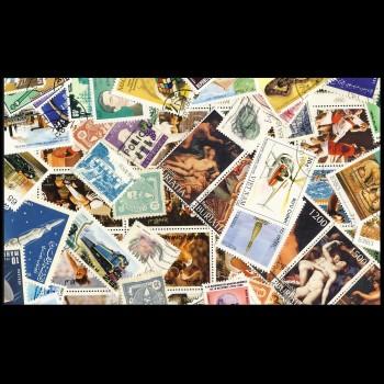 100 sellos matasellados diferentes de todo el mundo.             (Ref.049)