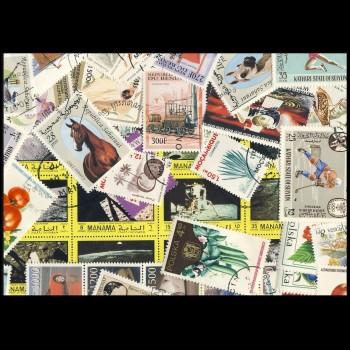 100 sellos matasellados diferentes de todo el mundo.             (Ref.053)