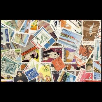 100 sellos matasellados diferentes de todo el mundo.             (Ref.054)