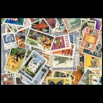 100 sellos matasellados diferentes de todo el mundo.             (Ref.058)