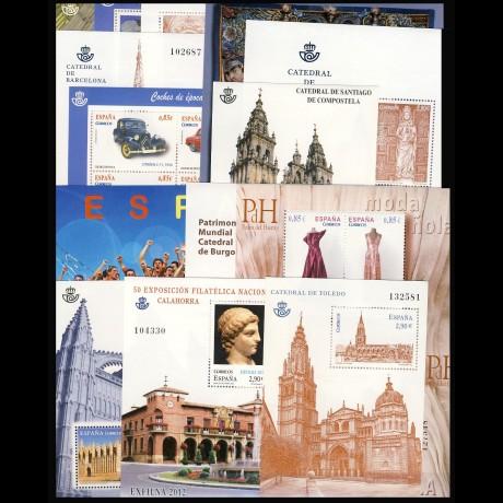 Año completo 2012 con Hojas bloque y carnet