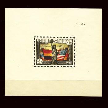766a  HOJA  BLOQUE  CONSTITUCION DE EE.UU. AEREO. CERTIFICADO CEM.