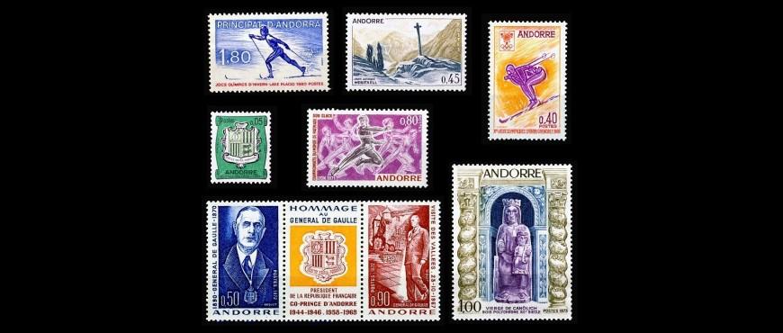 Venta de sellos de correo francés emitidos para Andorra