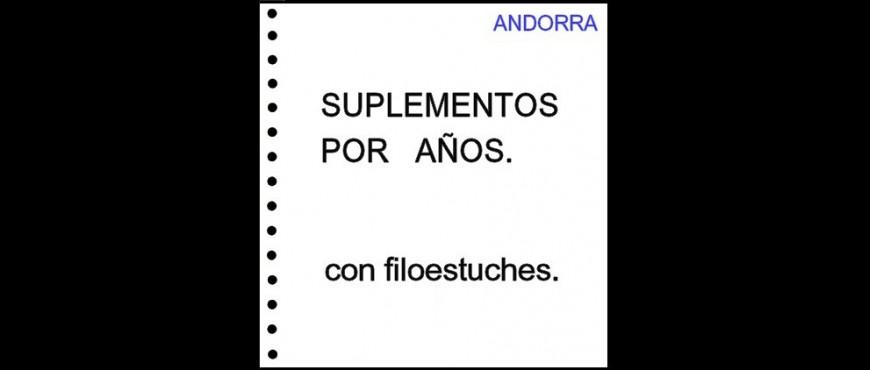Andorra española. Hojas de álbum con filoestuches. Periodos.