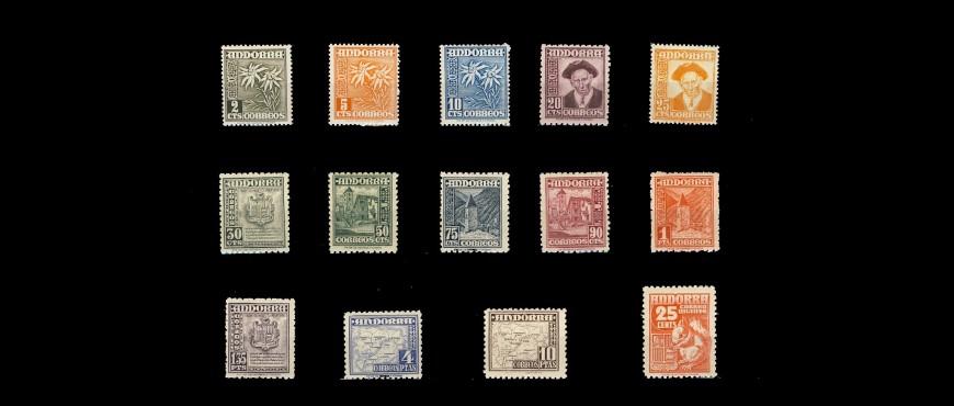 Venta de sellos de correos emitidos para Andorra 1948 a 2016
