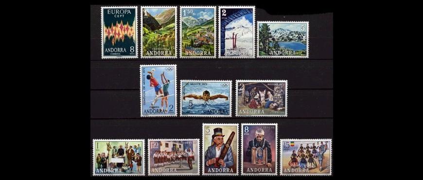 Sellos de correos emitidos para Andorra en un año determiando